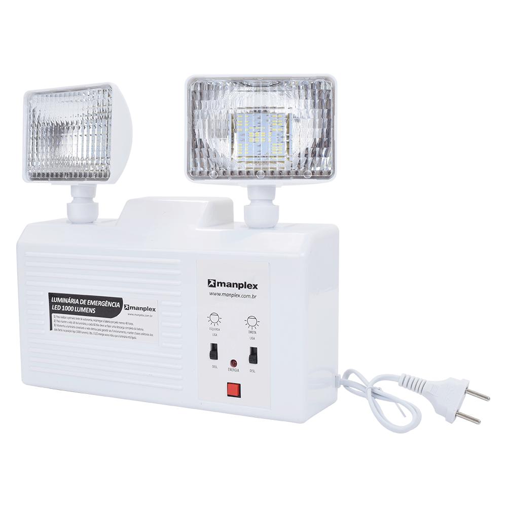 Imagem - Bloco Autônomo Bivolt LED 1.000 Lumens com Bateria Manplex - 10467