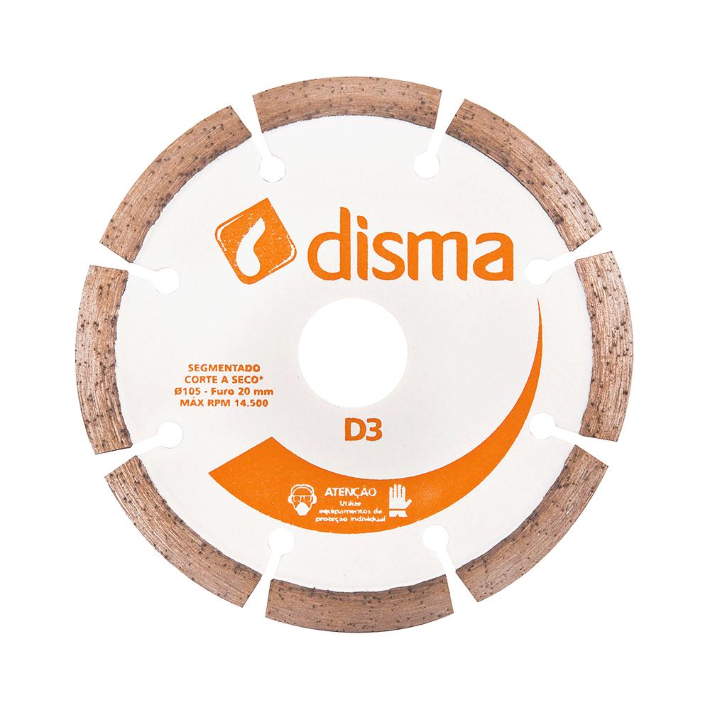 Imagem - Disco de Corte Diamantado 105mm Furo 20mm D3 Segmentado Disma - 3150