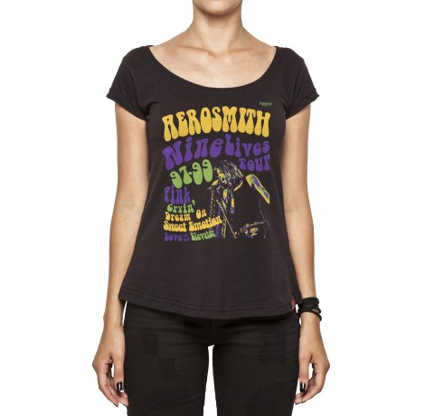 Camiseta Feminina - Aerosmith Nine Lives Tour