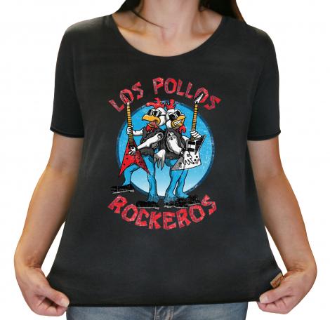 Camiseta Feminina Estonada - Los Pollos Rockeros