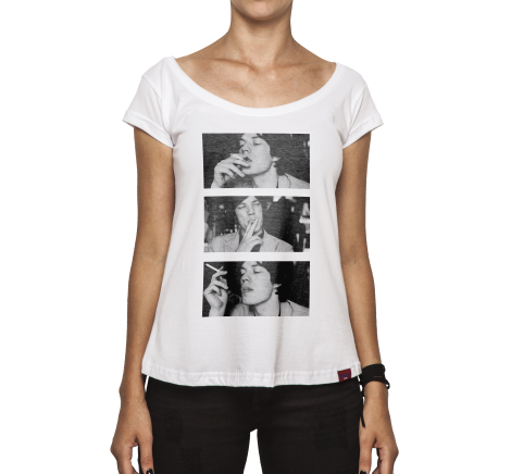 Camiseta Feminina - Mick Jagger Smoking