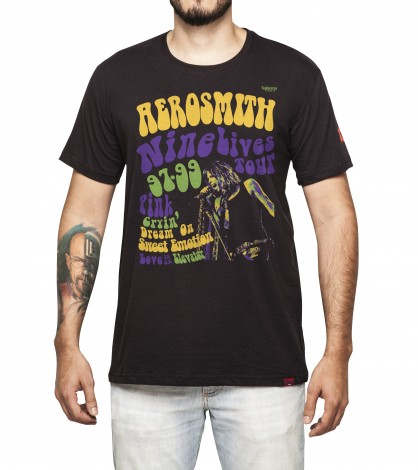 Camiseta Masculina - Aerosmith Nine Lives Tour