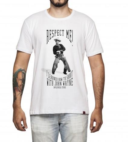 Camiseta Masculina - I Learned How to Shoot With John Wayne