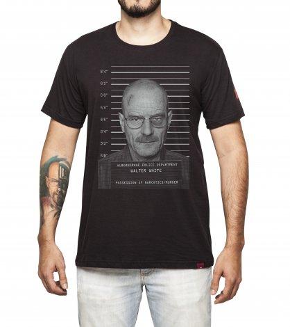 Camiseta Masculina Preta - Walter White - Mugshot