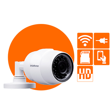 Camera Intelbras 1MP Wifi Bullet 2 8MM IR30M Mibo IC5 IP66 C/Fonte
