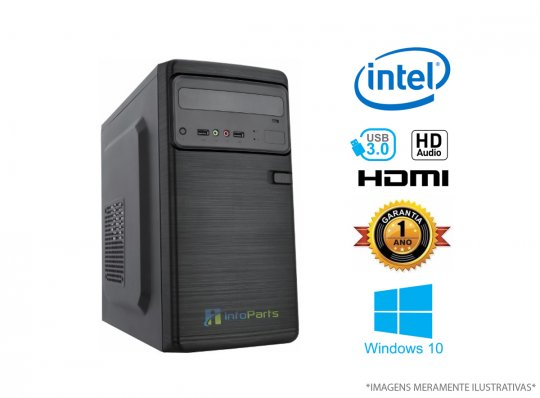 Computador Home Office Intel Celeron G3900, 4GB RAM, HD 500GB, WINDOWS 10 PRO 64