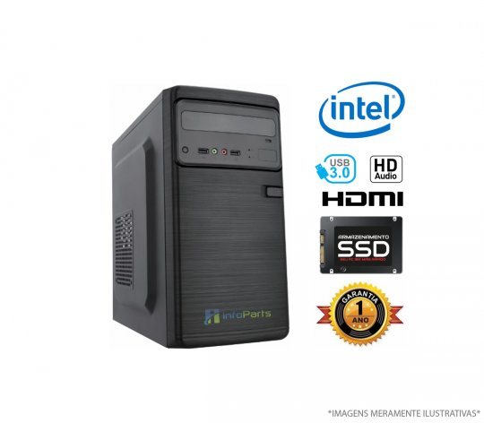 Computador Home Office Intel Core i3-8100 - 4GB RAM, SSD 120GB