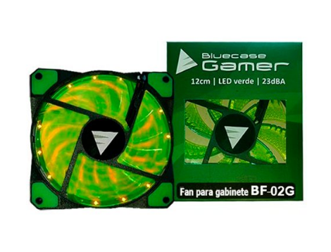 COOLER FAN BLUECASE 120MM LED VERDE BF-02G TRANSPARENTE