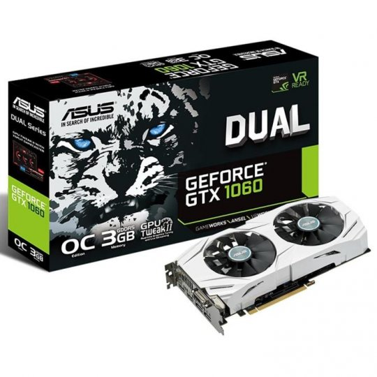 PLACA DE VIDEO ASUS GEFORCE GTX 1060 DUAL OC 3GB GDDR5, DUAL-GTX1060-O3G