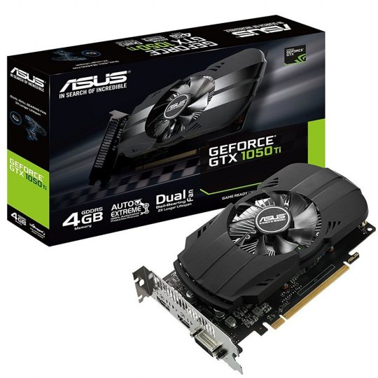 Placa de Vídeo VGA NVIDIA ASUS GEFORCE GTX 1050 TI 4GB DDR5, Boost Clock 1392 MHz, DVI/HDMI/DisplayPort, PH-GTX1050TI-4G