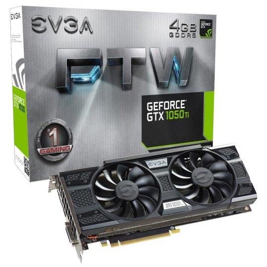 Placa de Vídeo VGA NVIDIA EVGA GEFORCE GTX 1050 TI 4GB FTW ACX 3.0 DDR5 PCI-E 04G-P4-6258-KR