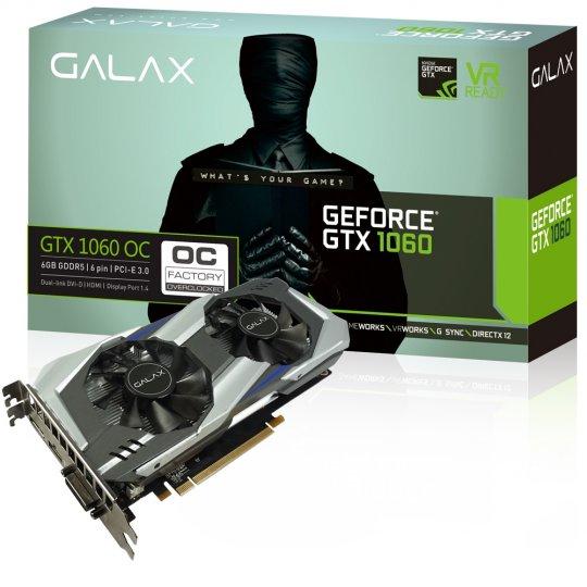 Placa de Vídeo VGA NVIDIA Galax GEFORCE GTX 1060 OC Entusiasta 6GB GDDR5 192Bits 8008MHZ 60NRH7DSL9OC