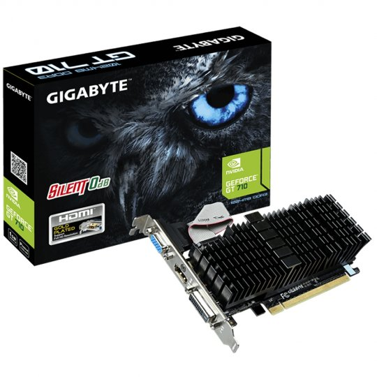 Placa de Vídeo VGA NVIDIA GIGABYTE GEFORCE GT 710 1GB DDR3 GV-N710SL-1GL REV1.0/2.0