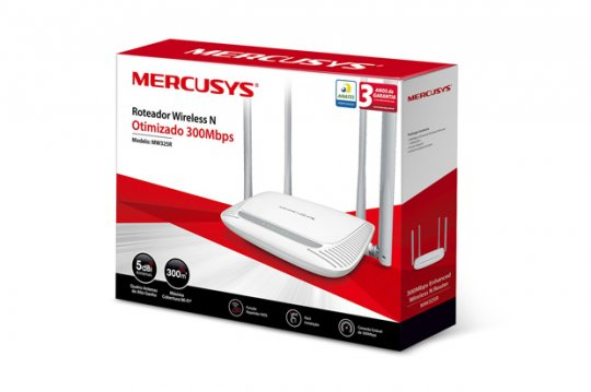Roteador Mercusys Wireless N 300Mbps MW325R 4 Antenas