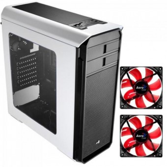 KIT 1 Gabinete Gamer AERO-500 WINDOW Branco AEROCOOL + 2 Coolers Fan 12cm RED LED Vermelho AEROCOOL