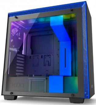 Gabinete NZXT H700I Matte Black/Blue - Controle Rgb - Painel de vidro temperado - Gerenciamento de cabos - CA-H700W-BL