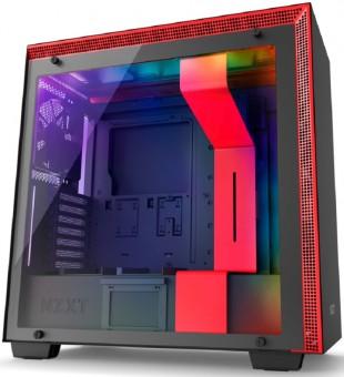 Gabinete NZXT H700I Matte Black/Red - Controle Rgb - Painel de vidro temperado - Gerenciamento de cabos - CA-H700W-BR