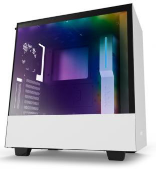 Gabinete H500I White - Iluminação Rgb - Painel de vidro temperado - gerenciamento de cabos - CA-H500W-W1