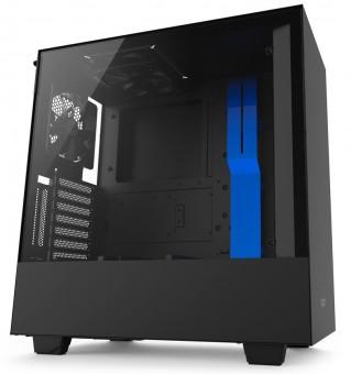 Gabinete H500I Black/Blue- Iluminação Rgb - Painel de vidro temperado - Gerenciamento de cabos - CA-H500W-BL