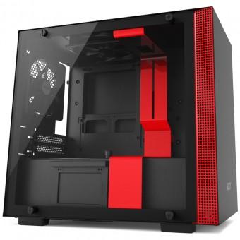 Gabinete H200 Black/Red - Mini-ITX - Painel de vidro temperado - Em aço - CA-H200B-BR