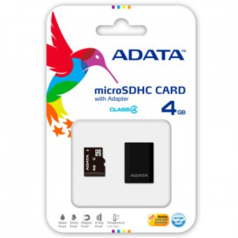 Cartão de Memória Adata Class 4 Micro Sdhc C/adapt Sd 4gb Ausdh4gcl4-rm3bkbl