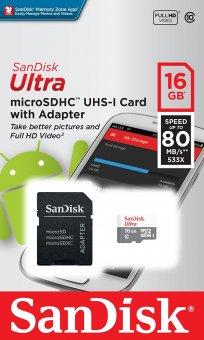 Cartão de Memória Micro SD Sandisk 16GB Ultra + Adaptador