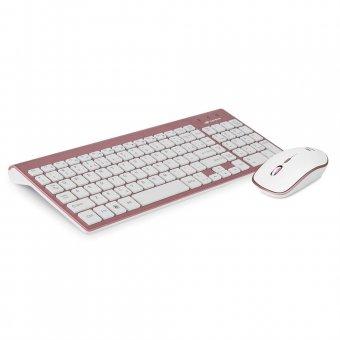 Kit Teclado e Mouse C3 Tech Sem Fio K-w510pwh Abnt2 1600dpi Branco/rose