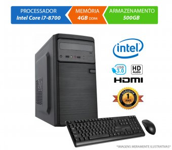 Computador Home Office Intel Core i7-8700 - 4GB RAM, HD 500GB, Mouse, Teclado