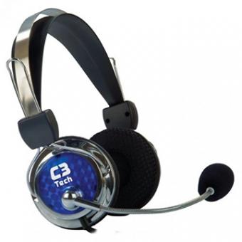 Fone De Ouvido Mic C3TECH Gamer Pterodax Stereo Pta/Azul/Pto