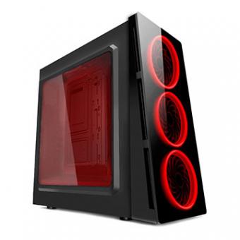 Gabinete Gamer HTX906E06S Preto C/ Cooler LED Vermelho