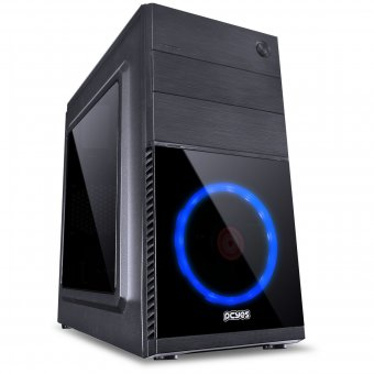 Gabinete Mid-Tower Mercury Preto Com 1 Fan Led Azul Mrcptaz1fca