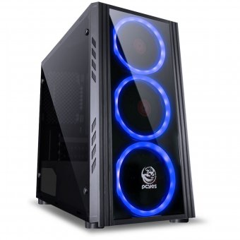 Gabinete Mid-Tower Saturn Preto Com 3 Fans Led Azul Satptaz3fca