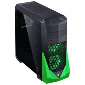 Gabinete Pcyes Vti Com Lateral Acrílica Fumê Acompanha 3 Coolers Fans de 120mm Verde Vtiptovd3fcaf