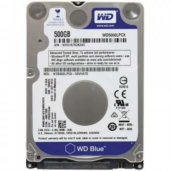 HD WD SATA 2,5 p/ Notebook Blue 7mm 500GB 5400RPM 16MB Cache SATA 6.0Gb/s - WD5000LPCX