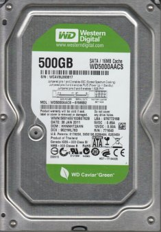 Hd Wd Sata 500gb 16mb 7200rpm 3gb/s Wd5000aacs