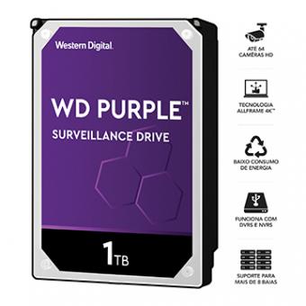 HDD WD Purple 1 TB P/ Segurança/Vigilancia/DVR WD10PURZ