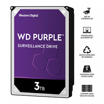 Imagem - HDD WD Purple 3 TB P/ Segurança/Vigilancia/ DVR - WD30PURZ