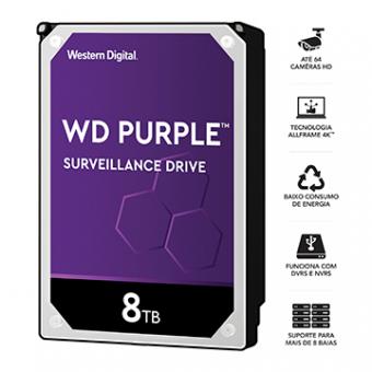 HDD WD Purple 8 TB P/ Segurança/Vigilancia/DVR - WD81PURZ