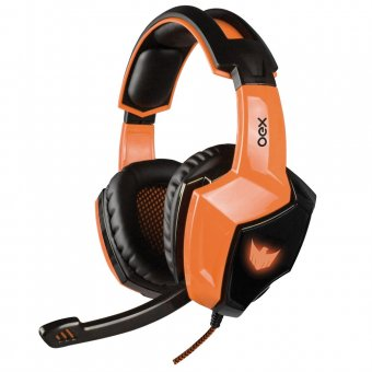 Headset Gamer Oex 7.1 Eagle Com Led Hs-401 Preto e Laranja