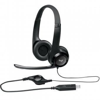 Headset Logitech H390 Usb 2.0 Em Couro Com Controle de Volume Preto - 981-000014