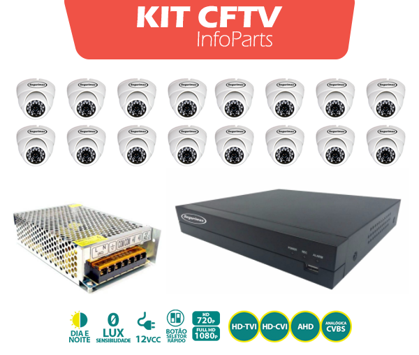 KIT CFTV DVR + 16 CAMERAS FULL HD DOME SEGURIMAX