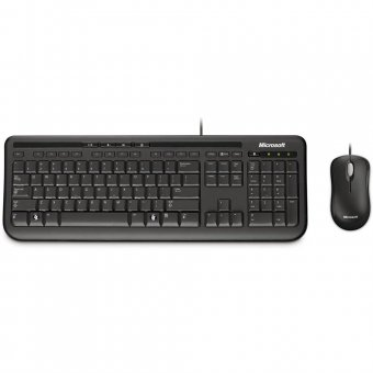 Kit Teclado Microsoft Multimídia + Mouse Basic Óptico Wired Desktop 600 Preto 3j2-00006