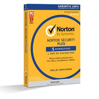 Licença Norton Security Plus 3.0 BR 1 User 5 Devices 1 Ano Card