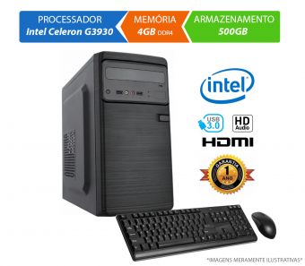 Computador Home Office Intel Celeron G3930 - 4GB DDR4, HD 500GB, Mouse, Teclado