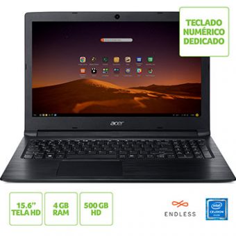 Notebook ACER 15,6 Led A315-33-C58D Celeron DC N3060 4GB 500GB Linux Tec Numerico