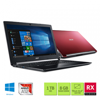 Notebook ACER 15,6 Led A515-41G-1480 A12-9720P 8GB 1TB W10 SL Tec Numerico Radeon RX540 2GB
