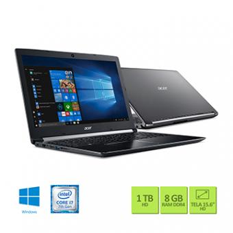 Notebook Acer 15,6 LED A515-51-75RV I7-7500U 8GB 1TB W10 SL TEC NUMERICO