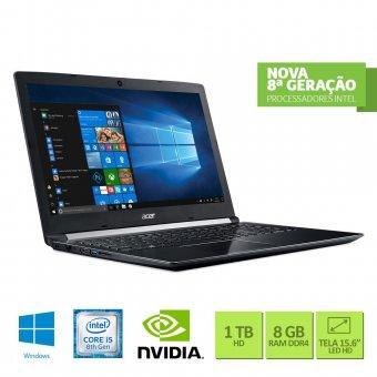Notebook Acer A515-51g-C97b Intel Core I5 8250u 8gb 1tb 15,6 Geforce Mx130 2gb Windows 10 Home Preto