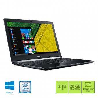 Notebook Acer Intel Core i7 7500U 20GB HD 2TB GeForce 940MX 2GB Windows 10 Home Tela 15,6