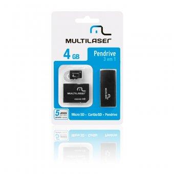 PEN DRIVE MULTILASER 4GB 3EM1 MICRO SD+CARTÃO SD MC057